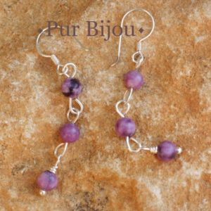 Shop Sugilite Earrings! Sugilite And Sterling Silver 925 Earrings | Natural genuine Sugilite earrings. Buy crystal jewelry, handmade handcrafted artisan jewelry for women.  Unique handmade gift ideas. #jewelry #beadedearrings #beadedjewelry #gift #shopping #handmadejewelry #fashion #style #product #earrings #affiliate #ad