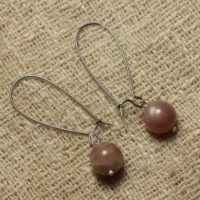 Pair Of Earrings Stone Semi Precious Sunstone | Natural genuine Gemstone jewelry. Buy crystal jewelry, handmade handcrafted artisan jewelry for women.  Unique handmade gift ideas. #jewelry #beadedjewelry #beadedjewelry #gift #shopping #handmadejewelry #fashion #style #product #jewelry #affiliate #ad