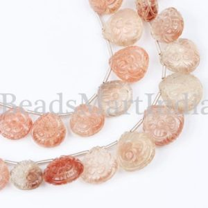 Shop Sunstone Bead Shapes! Extremely Rare Flower Carving Oregon Sunstone Heart Beads, Oregon Sunstone Heart Beads, Oregon Sunstone Beads, Carving Heart Beads | Natural genuine other-shape Sunstone beads for beading and jewelry making.  #jewelry #beads #beadedjewelry #diyjewelry #jewelrymaking #beadstore #beading #affiliate #ad