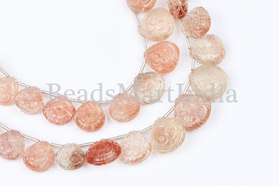 Extremely Rare Flower Carving Oregon Sunstone Heart Beads, Oregon Sunstone Heart Beads, Oregon Sunstone Beads, Carving Heart Beads