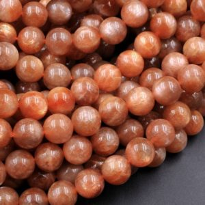 "Fiery Natural Sunstone Round Beads 6mm 8mm 10mm A Grade Feldspar Golden Glitters Orange Red Gemstone 15.5"" Strand 