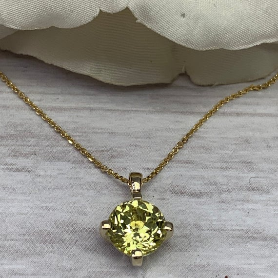 """Sweet Yellow Sapphire Pendant With Extra Facets For More Brilliance,  Solitaire Necklace, 14k Yellow Gold, 18"""" Chain #6981"""