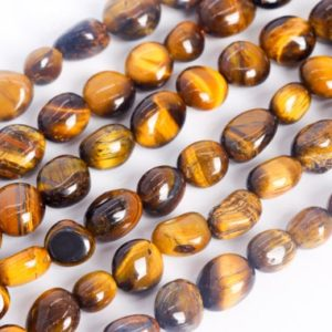 Shop Tiger Eye Chip & Nugget Beads! Genuine Natural Yellow Tiger Eye Loose Beads Grade A Pebble Nugget Shape 7-9mm | Natural genuine chip Tiger Eye beads for beading and jewelry making.  #jewelry #beads #beadedjewelry #diyjewelry #jewelrymaking #beadstore #beading #affiliate #ad