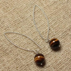 Shop Tiger Eye Earrings! Earrings 925 sterling silver and stone – Tiger eye 10mm | Natural genuine Tiger Eye earrings. Buy crystal jewelry, handmade handcrafted artisan jewelry for women.  Unique handmade gift ideas. #jewelry #beadedearrings #beadedjewelry #gift #shopping #handmadejewelry #fashion #style #product #earrings #affiliate #ad