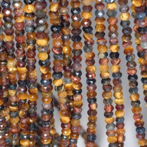 Shop Tiger Eye Faceted Beads! 4x3mm Rainbow Mix Tiger Eye Gemstone Yellow Blue Grade AA Fine Faceted Cut Rondelle Loose Beads 15.5 inch Full Strand (80001690-792) | Natural genuine faceted Tiger Eye beads for beading and jewelry making.  #jewelry #beads #beadedjewelry #diyjewelry #jewelrymaking #beadstore #beading #affiliate #ad
