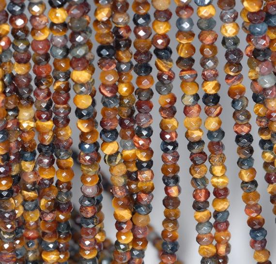 4x3mm Rainbow Mix Tiger Eye Gemstone Yellow Blue Grade Aa Fine Faceted Cut Rondelle Loose Beads 15.5 Inch Full Strand (80001690-792)