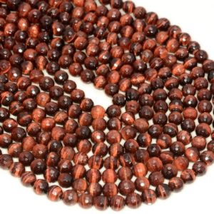 Shop Tiger Eye Faceted Beads! 6mm Red Tiger Eye Gemstone Grade AAA Faceted Round Loose Beads 16 inch Full Strand (80005644-472) | Natural genuine faceted Tiger Eye beads for beading and jewelry making.  #jewelry #beads #beadedjewelry #diyjewelry #jewelrymaking #beadstore #beading #affiliate #ad