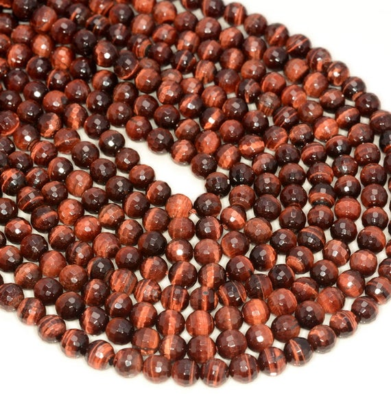 6mm Red Tiger Eye Gemstone Grade Aaa Faceted Round Loose Beads 16 Inch Full Strand (80005644-472)