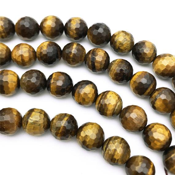 8mm Faceted Yellow Tiger Eye Beads, Round Gemstone Beads, Wholesale Beads
