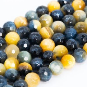 Shop Tiger Eye Faceted Beads! Genuine Natural Golden Blue Tiger Eye Loose Beads Grade AAA Micro Faceted Round Shape 8mm | Natural genuine faceted Tiger Eye beads for beading and jewelry making.  #jewelry #beads #beadedjewelry #diyjewelry #jewelrymaking #beadstore #beading #affiliate #ad