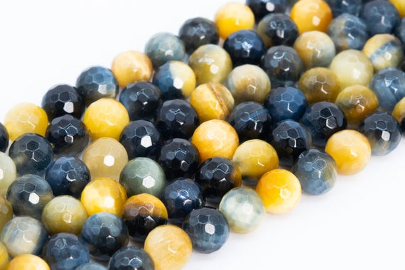 Genuine Natural Golden Blue Tiger Eye Loose Beads Grade Aaa Micro Faceted Round Shape 8mm