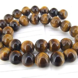 "Shop Tiger Eye Beads! One Full Strand — Charm Luster Yellow Tiger Eye Stone Gemstone Beads— 10mm —-about 38Pieces—- 15"" in length 