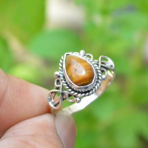 Shop Tiger Eye Rings! Natural Tiger Eye Ring   Handmade Silver Ring   925 Sterling Silver Rings   7×10 mm Pear Tiger Eye Ring   Anniversary Ring   Promise Ring   Natural genuine Tiger Eye rings, simple unique handcrafted gemstone rings. #rings #jewelry #shopping #gift #handmade #fashion #style #affiliate #ad