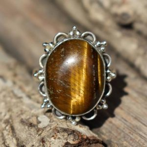 Shop Tiger Eye Rings! size-8us tiger eye stone ring,natural tiger eye gemstone ring,925 silver ring,gemstone ring,oval shape ring   Natural genuine Tiger Eye rings, simple unique handcrafted gemstone rings. #rings #jewelry #shopping #gift #handmade #fashion #style #affiliate #ad