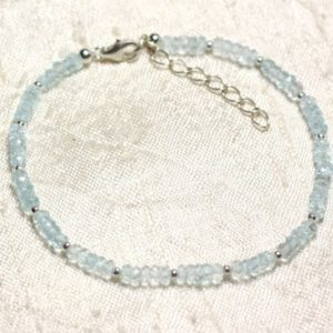Shop Topaz Bracelets! Bracelet 925 sterling silver and stone – Blue Topaz 3x2mm faceted rondelles | Natural genuine Topaz bracelets. Buy crystal jewelry, handmade handcrafted artisan jewelry for women.  Unique handmade gift ideas. #jewelry #beadedbracelets #beadedjewelry #gift #shopping #handmadejewelry #fashion #style #product #bracelets #affiliate #ad