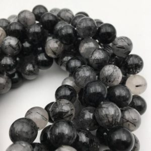"Dark Black Tourmalinated Quartz Smooth Round Beads 10mm 12mm 14mm 15.5"" Strand 