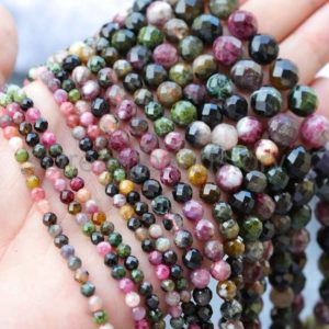 Shop Tourmaline Faceted Beads! Faceted Natural Tourmaline Beads Round 4mm 6mm 8mm 10mm Mixed Color Genuine Gemstone Sold by Strand | Natural genuine faceted Tourmaline beads for beading and jewelry making.  #jewelry #beads #beadedjewelry #diyjewelry #jewelrymaking #beadstore #beading #affiliate #ad