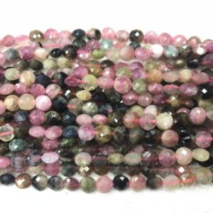 Shop Tourmaline Bead Shapes! Faceted Tourmaline Multicolour 6.5mm Flat Round Cut Grade A Natural Coin Beads 15 inch Jewelry Bracelet Necklace Material Supply | Natural genuine other-shape Tourmaline beads for beading and jewelry making.  #jewelry #beads #beadedjewelry #diyjewelry #jewelrymaking #beadstore #beading #affiliate #ad