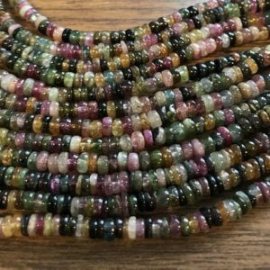 "Shop Tourmaline Rondelle Beads! Natural Tourmaline 5x(1-2)mm Rondelle Gemstone Beads–7.5""–1 Strand / 3 Strands 