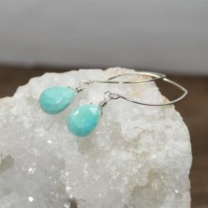 Shop Turquoise Earrings! Sleeping Beauty Turquoise Earrings, Leaf Ear Wires, Dangle, Hanging, Wire Wrapped, Sterling Silver or Gold Filled, December Birthstone | Natural genuine Turquoise earrings. Buy crystal jewelry, handmade handcrafted artisan jewelry for women.  Unique handmade gift ideas. #jewelry #beadedearrings #beadedjewelry #gift #shopping #handmadejewelry #fashion #style #product #earrings #affiliate #ad