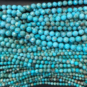 Shop Turquoise Faceted Beads! Faceted Round turquoise Beads 6,8,10, 12mm  – 15.5 inch strand | Natural genuine faceted Turquoise beads for beading and jewelry making.  #jewelry #beads #beadedjewelry #diyjewelry #jewelrymaking #beadstore #beading #affiliate #ad