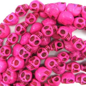 "18mm magenta turquoise carved skull beads 15.5"" strand 