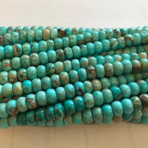 "Shop Turquoise Rondelle Beads! Chinese Turquoise 6x4mm Rondelle Gemstone Beads–15.5""–1 strand/3 strands 
