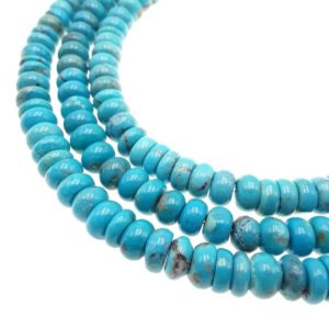 "Shop Turquoise Rondelle Beads! Genuine Blue Green Turquoise Smooth Rondelle Beads 4x6mm 5x8mm 15.5"" Strand 