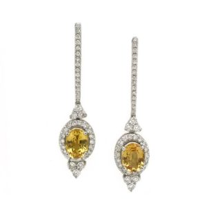 Shop Yellow Sapphire Earrings! Yellow Sapphire Earrings with Diamonds, Art Deco, Dangle Bridal Earrings, Long Earrings Wedding, Something New for Bride | Natural genuine Yellow Sapphire earrings. Buy handcrafted artisan wedding jewelry.  Unique handmade bridal jewelry gift ideas. #jewelry #beadedearrings #gift #crystaljewelry #shopping #handmadejewelry #wedding #bridal #earrings #affiliate #ad