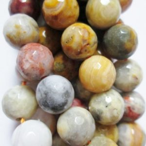 "Shop Crazy Lace Agate Beads! Genuine Faceted Crazy Lace Agate  Beads – Round 8 mm Gemstone Beads – Full Strand 15"", 46 beads, A Quality 