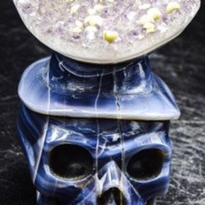 "Shop Raw & Rough Agate Stones! Agate Geode Skull 3.3"" weighs 1.32 pounds 