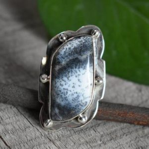 Shop Dendrite Agate Jewelry! 925 silver dendritic agate ring-natural dendrite agate ring-dendritic ring,handmade ring-ring for women-design ring | Natural genuine Agate jewelry. Buy crystal jewelry, handmade handcrafted artisan jewelry for women.  Unique handmade gift ideas. #jewelry #beadedjewelry #beadedjewelry #gift #shopping #handmadejewelry #fashion #style #product #jewelry #affiliate #ad