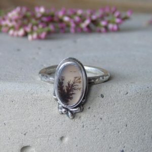 Shop Agate Rings! Dendritic Agate Custom Ring, Botanical Scenic Agate, Unique Artisan Sterling Silver Ring, Agate Jewelry, Plant Ring | Natural genuine Agate rings, simple unique handcrafted gemstone rings. #rings #jewelry #shopping #gift #handmade #fashion #style #affiliate #ad