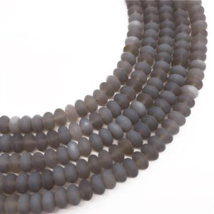 Shop Agate Rondelle Beads! 8x5mm Matte Gray Agate Beads Rondelle Beads, Gemstone Beads, Wholesale Beads | Natural genuine rondelle Agate beads for beading and jewelry making.  #jewelry #beads #beadedjewelry #diyjewelry #jewelrymaking #beadstore #beading #affiliate #ad