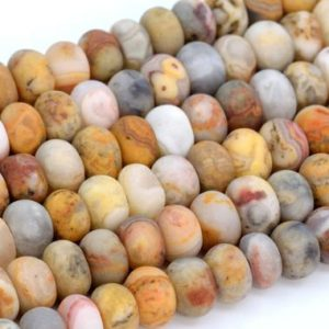 Shop Agate Rondelle Beads! Genuine Natural Matte Orange Cream Crazy Lace Agate Loose Beads Rondelle Shape 6x4mm 8x5mm | Natural genuine rondelle Agate beads for beading and jewelry making.  #jewelry #beads #beadedjewelry #diyjewelry #jewelrymaking #beadstore #beading #affiliate #ad