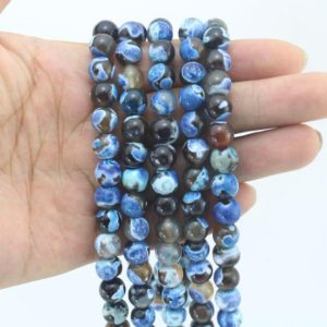 4-14mm Blue Black Agate Beads ,Round Fire Agate Beads,Agate strand,Gemstone Loose Beads, DIY Jewelry Making–15inches-EB220 | Natural genuine round Gemstone beads for beading and jewelry making.  #jewelry #beads #beadedjewelry #diyjewelry #jewelrymaking #beadstore #beading #affiliate #ad