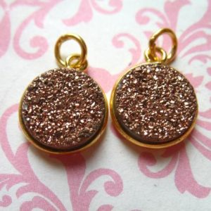 Druzy Pendant Charm, Agate, 11 mm, 24k Gold Vermeil, rose gold, wholesale petite round gcp10 gp | Natural genuine beads Gemstone beads for beading and jewelry making.  #jewelry #beads #beadedjewelry #diyjewelry #jewelrymaking #beadstore #beading #affiliate #ad