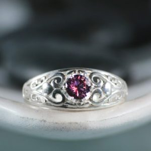 Shop Alexandrite Rings! Filigree Alexandrite Engagement Ring, Sterling Silver Alexandrite Ring | Moonkist Designs | Natural genuine Alexandrite rings, simple unique alternative gemstone engagement rings. #rings #jewelry #bridal #wedding #jewelryaccessories #engagementrings #weddingideas #affiliate #ad