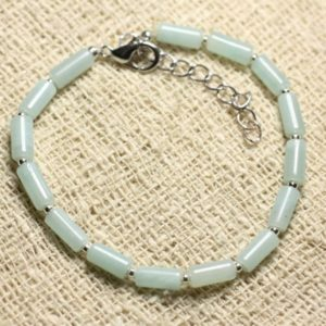 Shop Amazonite Bracelets! Bracelet 925 sterling silver and gemstone – Amazonite 8 mm Tubes   Natural genuine Amazonite bracelets. Buy crystal jewelry, handmade handcrafted artisan jewelry for women.  Unique handmade gift ideas. #jewelry #beadedbracelets #beadedjewelry #gift #shopping #handmadejewelry #fashion #style #product #bracelets #affiliate #ad
