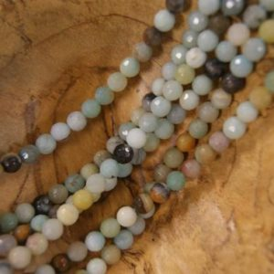 Shop Amazonite Faceted Beads! Amazonite Faceted Round Shaped Natural Gemstone Bead-Assorted Sizes~ -15.5 inch strand   Natural genuine faceted Amazonite beads for beading and jewelry making.  #jewelry #beads #beadedjewelry #diyjewelry #jewelrymaking #beadstore #beading #affiliate #ad