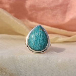 Shop Amazonite Rings! Beautiful Amazonite Ring, Pear Gemstone, Sterling Silver Ring, Blue Gemstone Ring, Silver Ring, Stacking Ring, Promise Ring, Christmas Sale | Natural genuine Amazonite rings, simple unique handcrafted gemstone rings. #rings #jewelry #shopping #gift #handmade #fashion #style #affiliate #ad