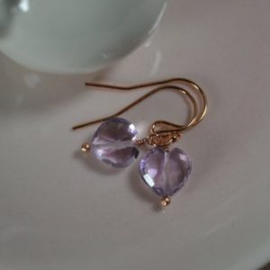 Shop Amethyst Earrings! Delicate Pink Amethyst Heart Earrings in 14k Gold, Sterling Silver // Valentine's Day Jewelry // Dainty Amethyst // Girl's Birthday Jewelry | Natural genuine Amethyst earrings. Buy crystal jewelry, handmade handcrafted artisan jewelry for women.  Unique handmade gift ideas. #jewelry #beadedearrings #beadedjewelry #gift #shopping #handmadejewelry #fashion #style #product #earrings #affiliate #ad