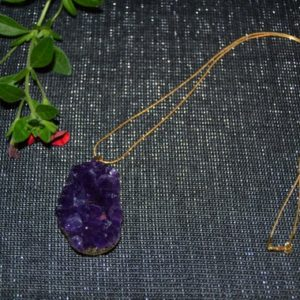 Shop Amethyst Necklaces! Large Amethyst Cluster/14k Gold Filled Snake Chain/Statement Necklace/Raw Natural Amethyst/Birthstone Necklace/Bohemian | Natural genuine Amethyst necklaces. Buy crystal jewelry, handmade handcrafted artisan jewelry for women.  Unique handmade gift ideas. #jewelry #beadednecklaces #beadedjewelry #gift #shopping #handmadejewelry #fashion #style #product #necklaces #affiliate #ad