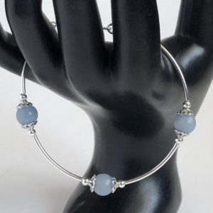 Shop Angelite Bracelets! Angelite Bracelet with Sterling Silver bars   Natural genuine Angelite bracelets. Buy crystal jewelry, handmade handcrafted artisan jewelry for women.  Unique handmade gift ideas. #jewelry #beadedbracelets #beadedjewelry #gift #shopping #handmadejewelry #fashion #style #product #bracelets #affiliate #ad
