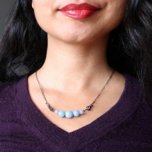 Angelite Cloud Necklace Blue Gemstone Gunmetal Chain Crystal Healing Jewelry | Natural genuine Gemstone necklaces. Buy crystal jewelry, handmade handcrafted artisan jewelry for women.  Unique handmade gift ideas. #jewelry #beadednecklaces #beadedjewelry #gift #shopping #handmadejewelry #fashion #style #product #necklaces #affiliate #ad