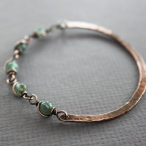 Shop Apatite Bracelets! Copper Half Bangle Bracelet With Apatite Stone – Cuff Bracelet – Copper Bracelet – Healing Bracelet – Beaded Bracelet, Br028 | Natural genuine Apatite bracelets. Buy crystal jewelry, handmade handcrafted artisan jewelry for women.  Unique handmade gift ideas. #jewelry #beadedbracelets #beadedjewelry #gift #shopping #handmadejewelry #fashion #style #product #bracelets #affiliate #ad