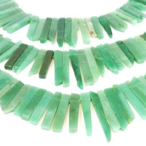"Shop Aventurine Chip & Nugget Beads! Green aventurine slices,rectangle beads,gemstone beads,long slice beads,side drilled beads,chip beads,AA Quality – 16"" Full Strand 