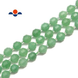 Shop Aventurine Faceted Beads! Green Aventurine Prism Cut Double Point Faceted Round Beads 9x10mm 15.5'' Strand | Natural genuine faceted Aventurine beads for beading and jewelry making.  #jewelry #beads #beadedjewelry #diyjewelry #jewelrymaking #beadstore #beading #affiliate #ad