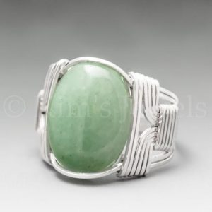Shop Aventurine Rings! Green Aventurine Sterling Silver Wire Wrapped Gemstone Cabochon Ring – Optional Oxidation/Antiquing – Made to Order, Ships Fast! | Natural genuine Aventurine rings, simple unique handcrafted gemstone rings. #rings #jewelry #shopping #gift #handmade #fashion #style #affiliate #ad