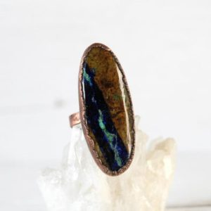 Shop Azurite Rings! Azurite Malachite Ring – Size 6 1 / 2 – Natural Stone Ring – Mineral Ring – Oval Copper Ring | Natural genuine Azurite rings, simple unique handcrafted gemstone rings. #rings #jewelry #shopping #gift #handmade #fashion #style #affiliate #ad